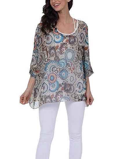 716f8c8e7de02 Wiwish Women s Florals Batwing Sleeve Button Back Chiffon Beach Loose  Blouse Tunic Tops