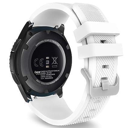 Saisiyiky Correas para relojes Samsung Gear S3 Frontier Banda de pulsera de silicona deportiva (Blanco