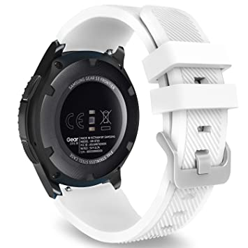 Saisiyiky Correas para relojes Samsung Gear S3 Frontier Banda de pulsera de silicona deportiva (Blanco): Amazon.es: Electrónica