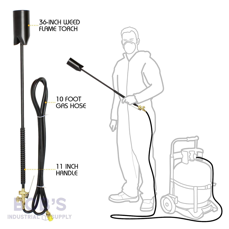Bobs Industrial Supply BISupply - Kit de Quemador de Malas Hierbas con Manguera - 500.000 BTU Linterna de Malas Hierbas, Linterna portátil de jardín y ...