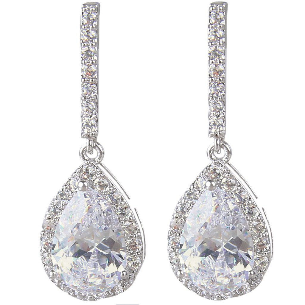 EleQueen Women's Silver-tone Cubic Zirconia Tear Drop Bridal Dangle Pierced Earrings Clear 16000509ca