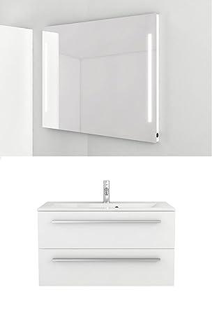Waschtischunterschrank 90 cm + Leuchtspiegel weiß Hochglanz ...