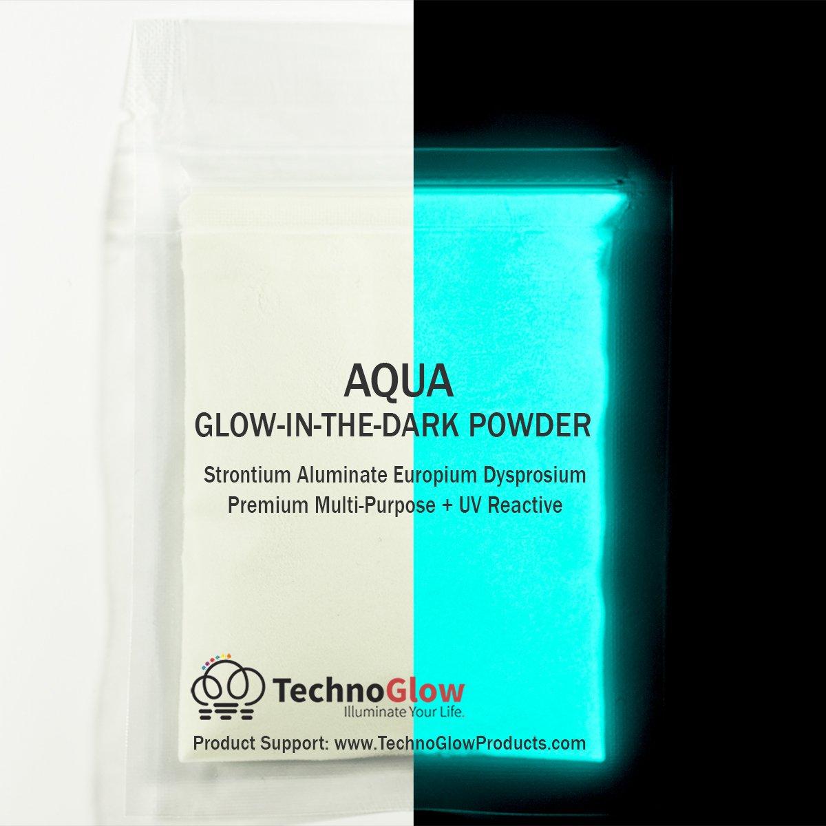Aqua Glow in the Dark & UV Powder; 100-150 Microns (8 OZ) Techno Glow Inc P02-AQU-X