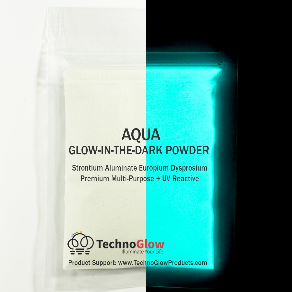 Glow in the Dark Sand | UV Black Light Reactive | Longest Brightest Glow (Aqua, 2 Ounces (60g)) by Techno Glow Inc