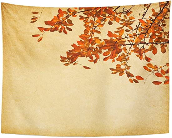Tarolo Decor Wall Tapestry Brown Fall Old Branch of Autumn Leaves Cherry Plum Red Retro Faded October 80 x 60 Inches Wall Hanging Picnic for Bedroom Living Room Dorm