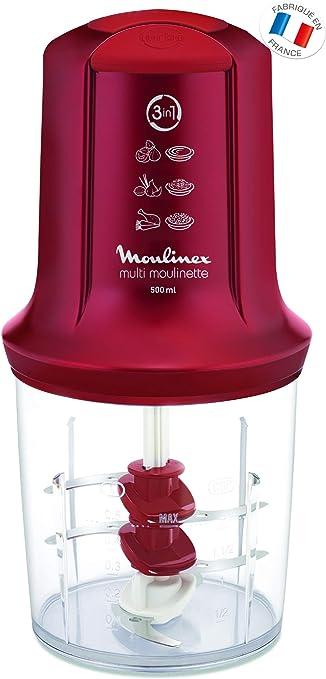 Moulinex Multimoulinette - Picadora, 3 cuchillas, 500 W, 0.5 L, acero inoxidable/plástico, color rojo rubí: Amazon.es: Hogar