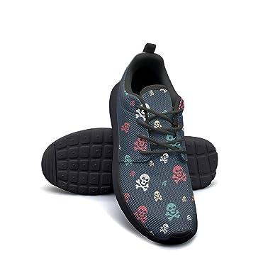 08c38c3eb04e2 Amazon.com   Colored Skull Pattern Black Canvas Sneakers for Women ...