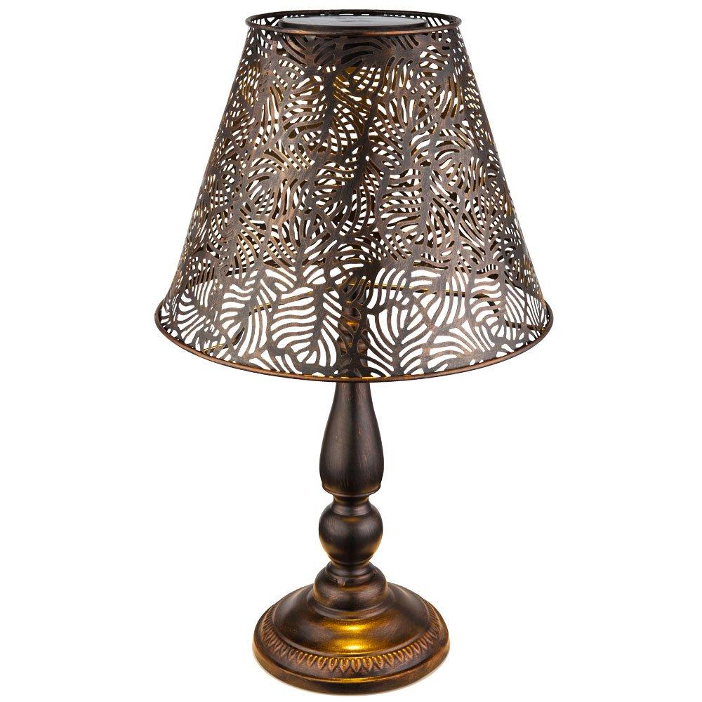 LED Solar Außen Lampe Garten Beleuchtung Tisch Leuchte Terrassen Strahler kupfer Globo 33002T