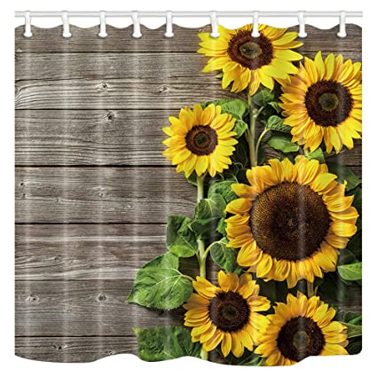 ChuaMi Sunflower Shower Curtain Brown Grey Board And Spring Yellow Flowers Green Leaves Theme
