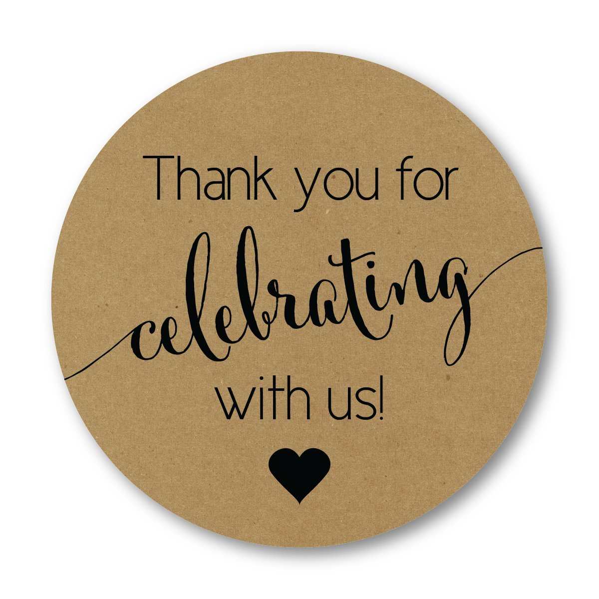 Rustic Kraft Thanks for Celebrating with Us Stickers, Woodlands Wedding Favor Labels (#362-KRB)