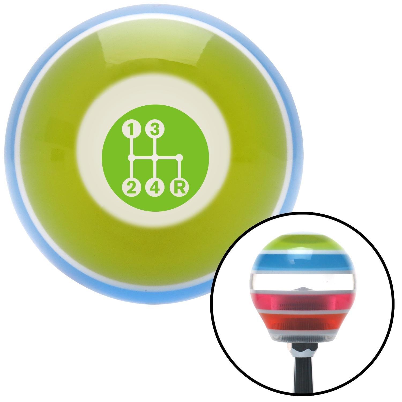 American Shifter 273162 Green 4 Speed Pattern-Dots 6 Stripe Shift Knob with M16 x 1.5 Insert