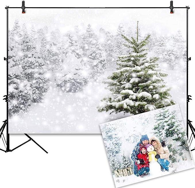 OFILA Christmas Trees Backdrop 12x8ft Christmas Party Photography Background Kids Xmas Photo Background Winter Snowflakes Gifts New Year Festival Celebration Photo Holiday Events Backdrop