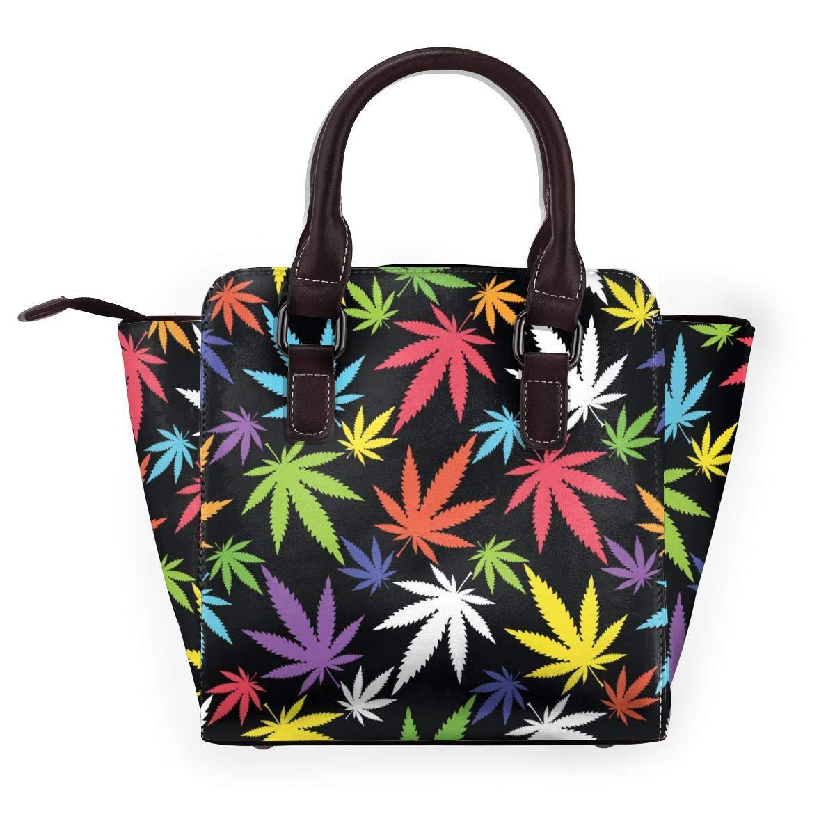 Loving Hands dam axelväska av äkta läder med nitar Marijuana Leaf