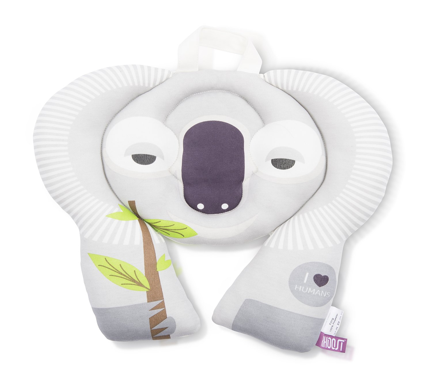 Rhoost Toddler Travel Buddy Neck Rest. Head Support for Kids on Car & Airplane Journeys. Fun Koala or Owl design with Pockets & Name Badge HRKL209