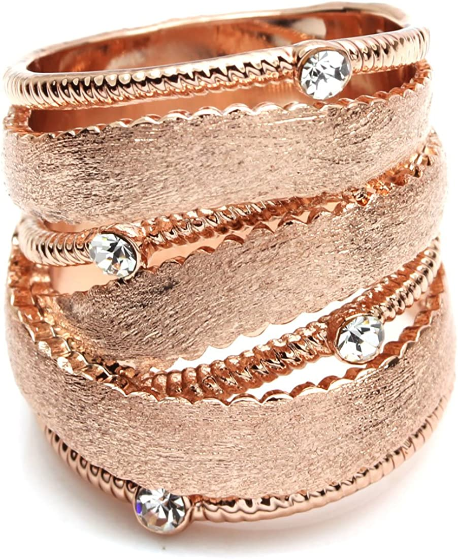 6 FC JORY Rose Gold GP Cubic Zirconia Matte Wide Band Cocktail Statement Ring
