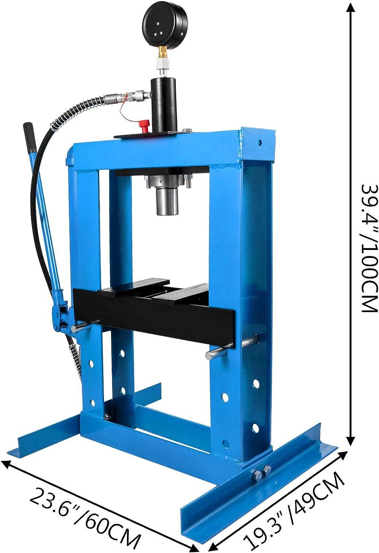 Mophorn Presse datelier hydraulique de 10 tonnes Hydraulique dAtelier Presse hydraulique d/établi 22046 livres avec plaque en acier bleu pour plier ou redresser le m/étal