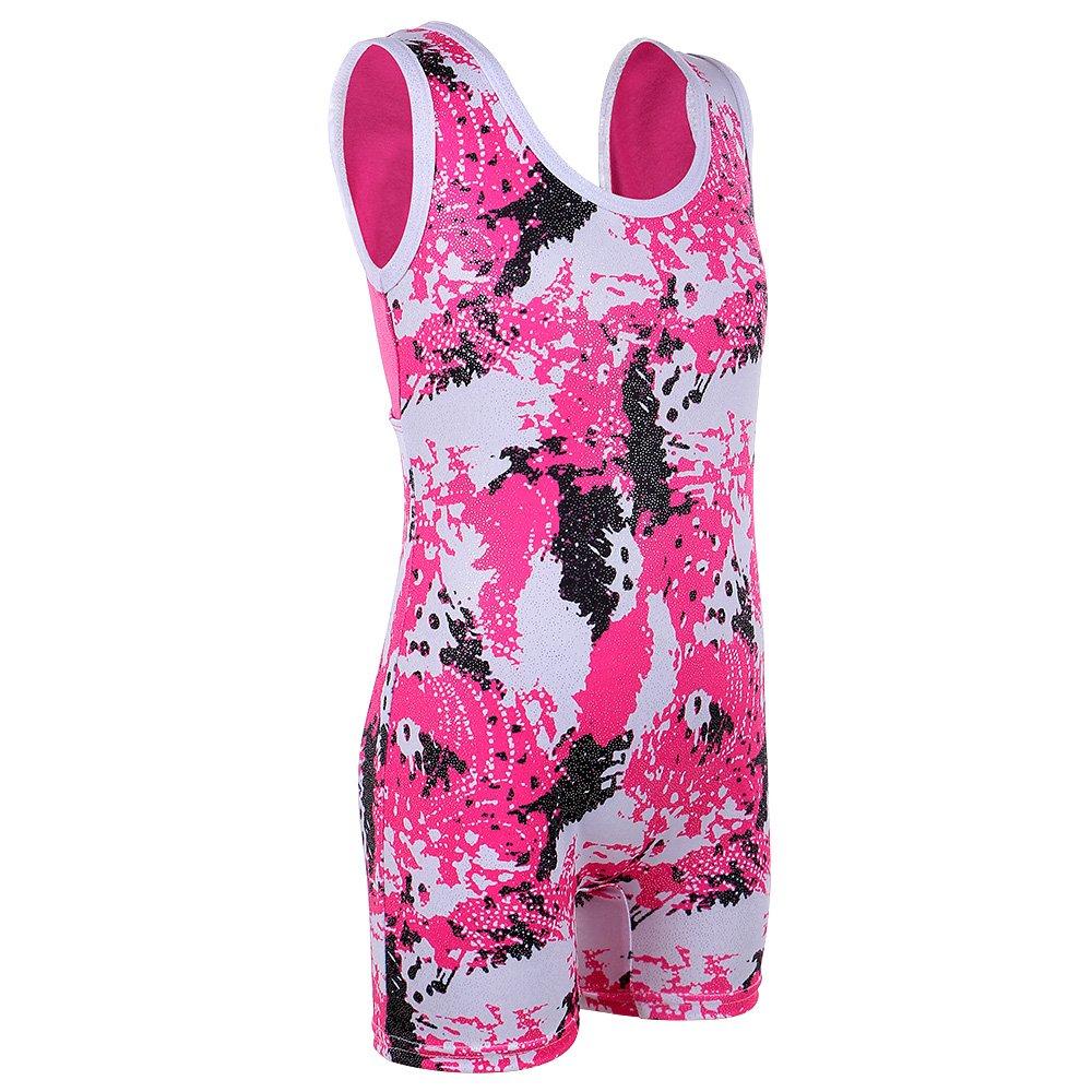 HUANQIUE New Girls Unitard Biketard Shortall Gymnastics Outfit Apparel