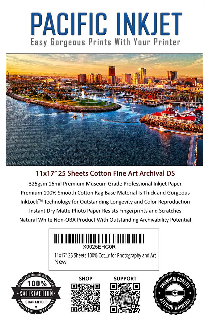 11x17'' 25 Sheets 100% Cotton Fine Art Matte Finish Double Sided Inkjet Paper - Professional Archival Grade Paper for Use with Inkjet Printers - OBA Free Printer Paper for Photography and Art