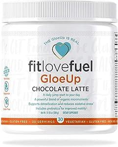 fitlovefuel GloeUp All-in-One Dietary Supplement Powder, Vegetarian, Gluten Free, Non-GMO, Chocolate Latte, 30 Servings