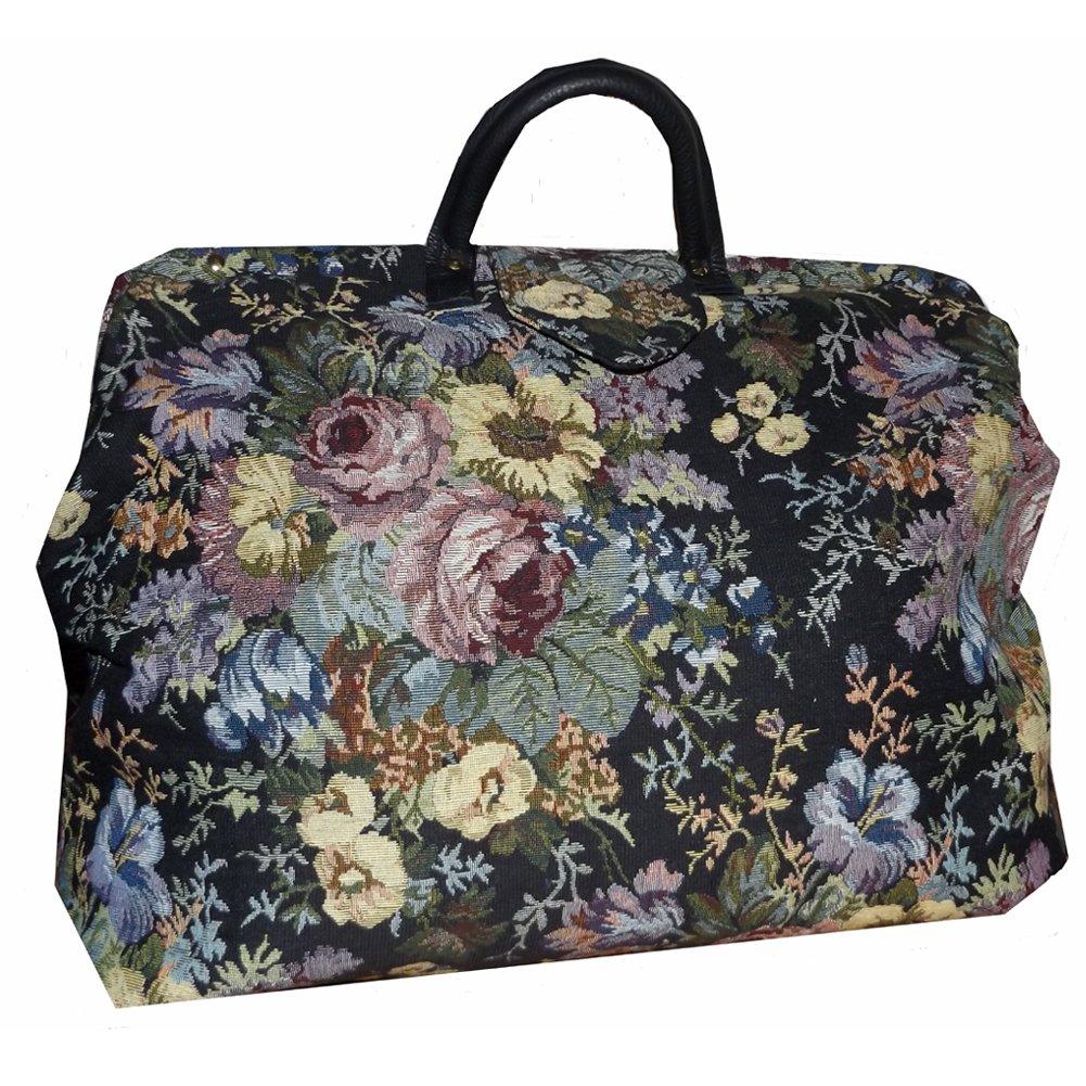 FlyingNeedleGallery s Black Multicolored Floral Tapestry Carpet Bag