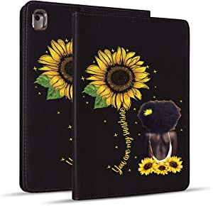 iPad Mini 5 Case, Mini 4 Case, iPad Mini 1/2/3 Case, Protective Leather Case, Adjustable Stand Auto Wake/Sleep Smart Case for iPad Mini 5th/4th Gen 7.9 inch - Sunflower and African Afro Woman