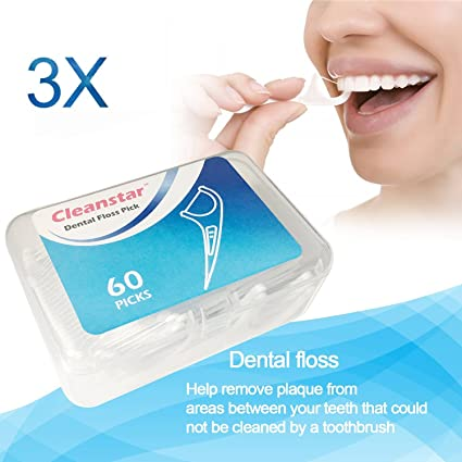 Hilo dental en palo 180 piezas, dental floss picks para interdental oral limpieza, dientes