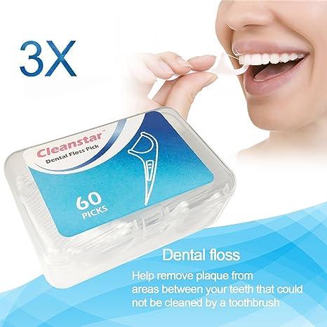 Hilo dental en palo 180 piezas, dental floss picks para interdental oral limpieza, dientes