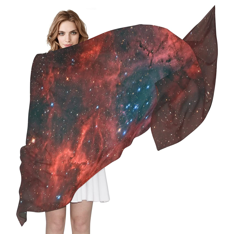 MRMIAN Universe Galaxy Space Starry Night Red Long Silk Chiffon Scarf Wrap Stole