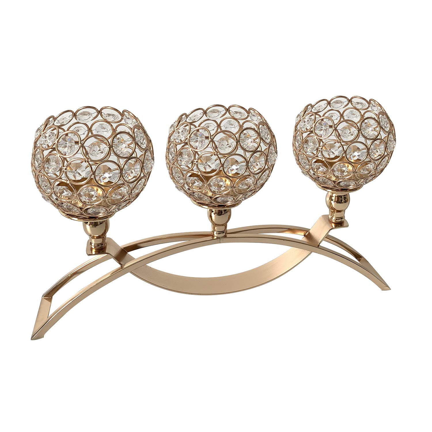 Gold Fortune Crystal Candle Holders Stand with 3 Candelabras for Coffee Table Living Room and Dinning Room Table Decorative Centerpieces (Gold) by Gold Fortune