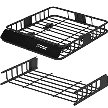 CURT 18115 Roof Rack 11 Square Foot Cargo Carrier + Roof Rack Cargo Carrier  Extension For