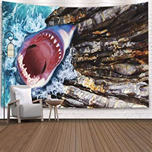 Shorping Tapestry Shark, 60x50Inches Home Wall Hanging Tapestries Art for Décor Living Room Dorm Shark Open Mouth Jumps Out