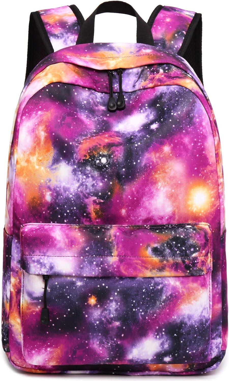Girls School Backpack Teens Galaxy School Bags Kids Bookbag with Laptop Sleeve Galaxy Purple-0033-3