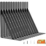LuckIn 12-Pack Shelf Bracket 11 Inch for Floating Shelf, Heavy Duty Wall Mount L Bracket, 90 Degree Triangle Corner Bracket w