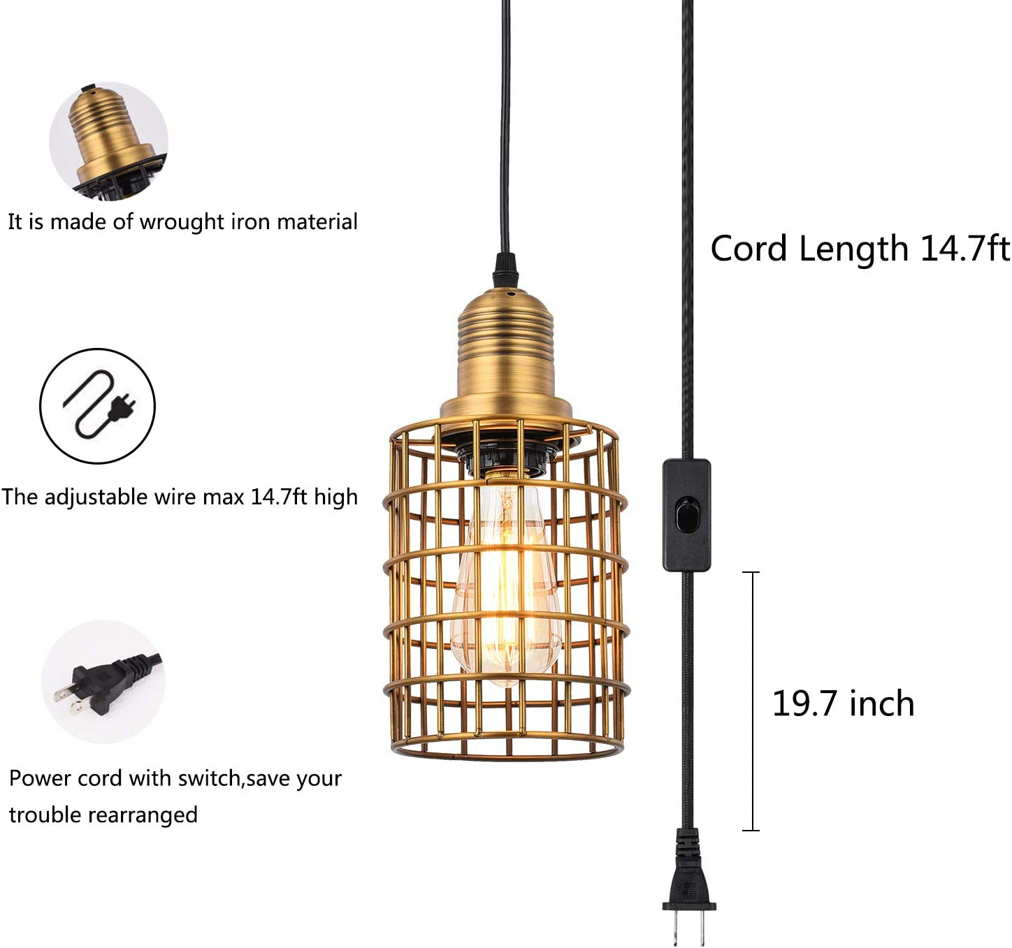 Black Topotdor Pendant Light with Plug in Cord 2 Pack,Vintage Adjustable Industrial Hanging Cage Lighting E26 Edison Plug in Light Fixture On//Off Switch