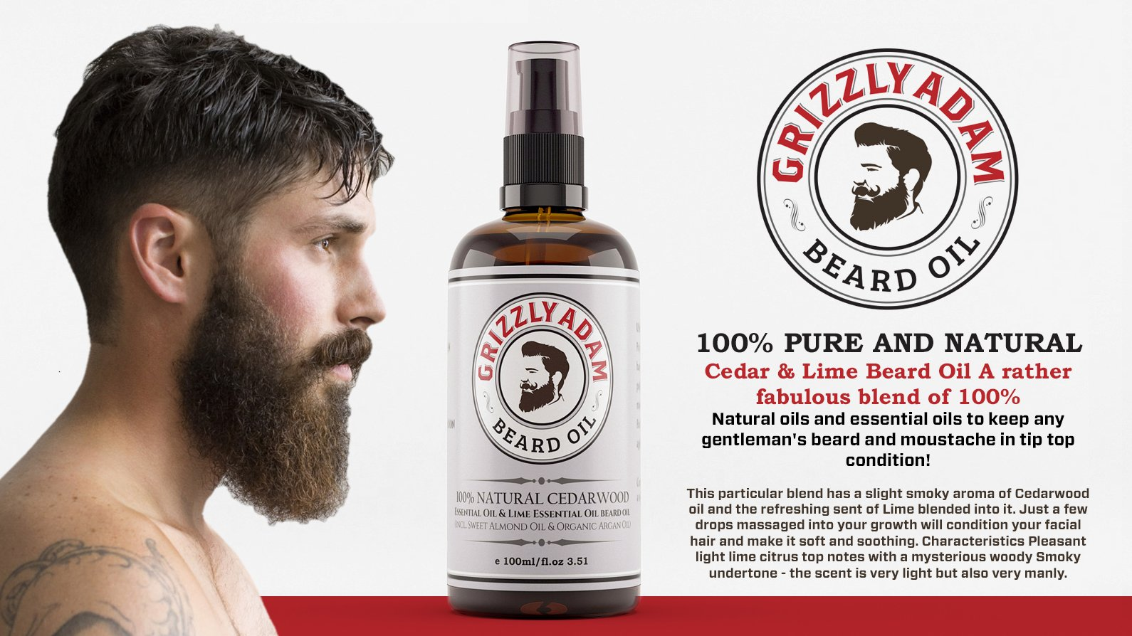 Beard Care Kit for Men - Top Rated Beard Care Products - All Natural Beard Oil, Beard Scissors and Beard Comb Ideal for Grooming Badass Beards and Moustache by GRIZZLY ADAM