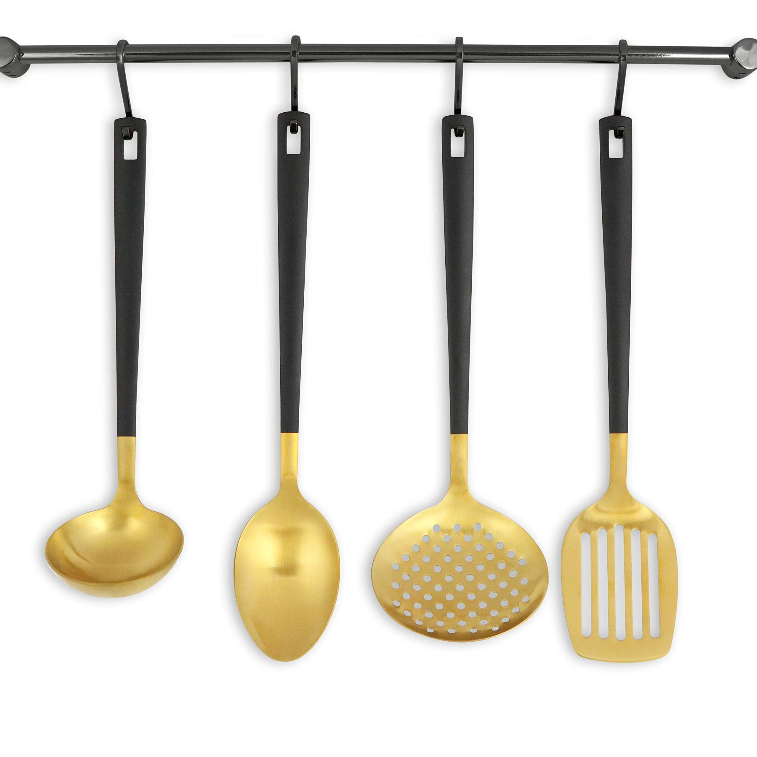 Black and Gold Utensil Set for Cooking and Serving, Stainless Steel Serving Utensils include - Black and Gold Metal Ladle, Skimmer, Serving Spoon, Turner: Gold Serving Sets by STYLED SETTINGS (Image #1)