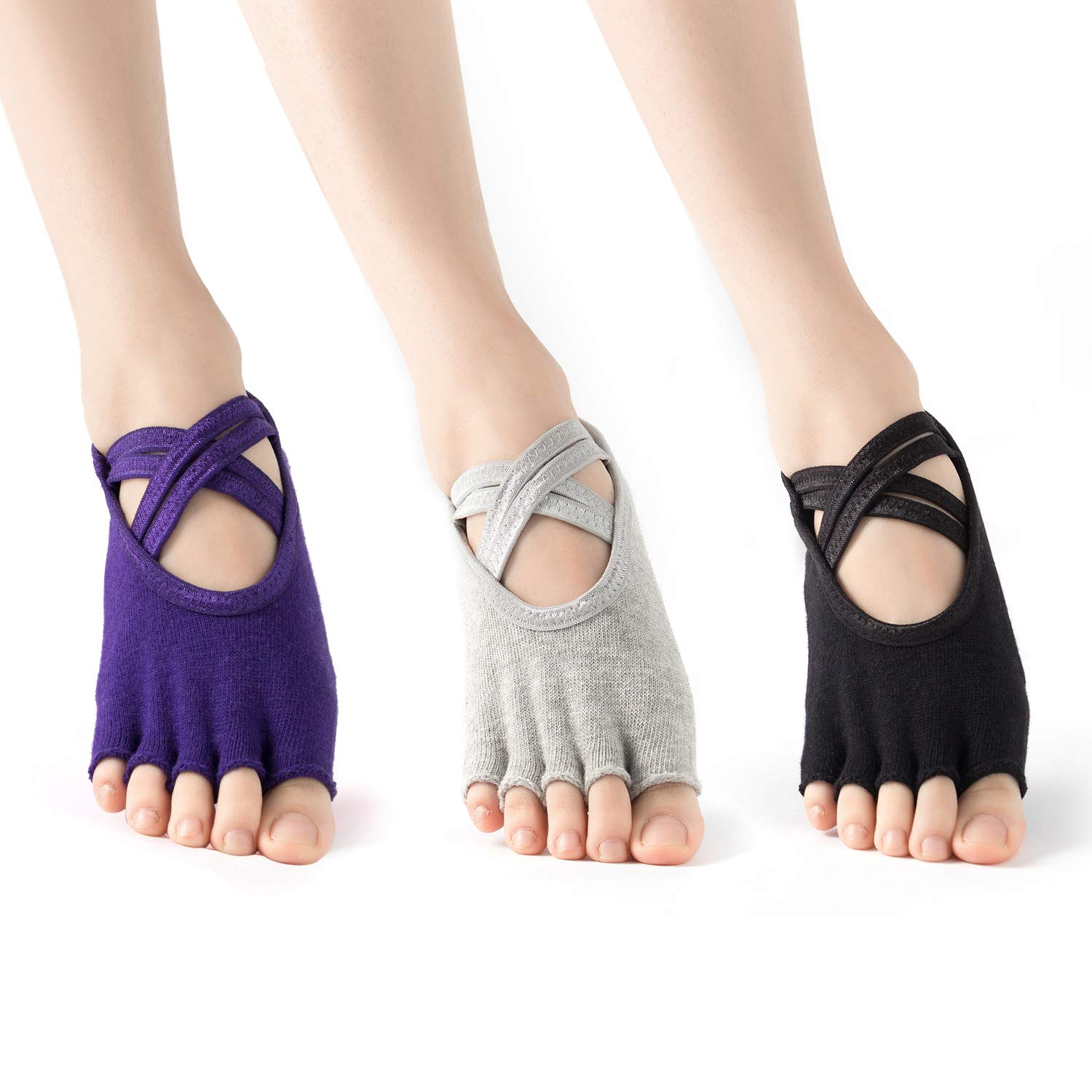 Black Grey Purple Cexxy dance socks for women non slip yoga socks with grips for Pilates, Ballet, Barre class, 3 pairs size 511
