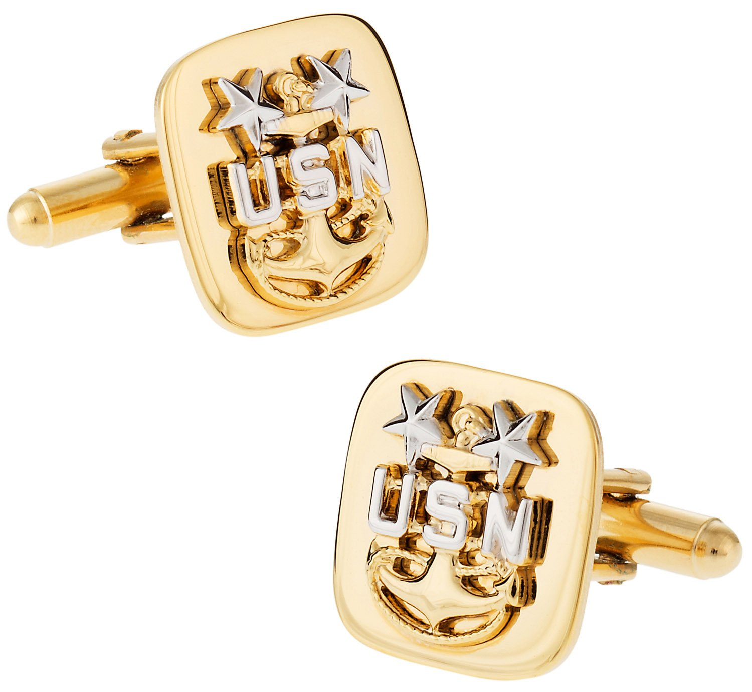 Cuff-Daddy Navy Cufflinks: E9 Chief Petty Officer: Master - Gold with Presentation Box