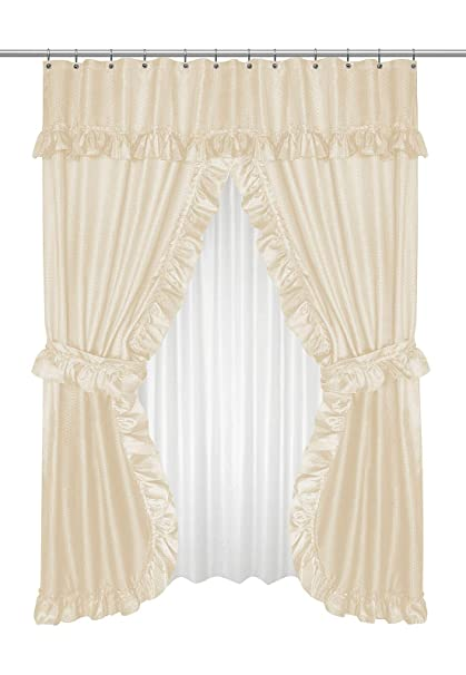 Diamond Dot Ruffled Double Swag Fabric Shower Curtain With Valance And  Liner   Ivory