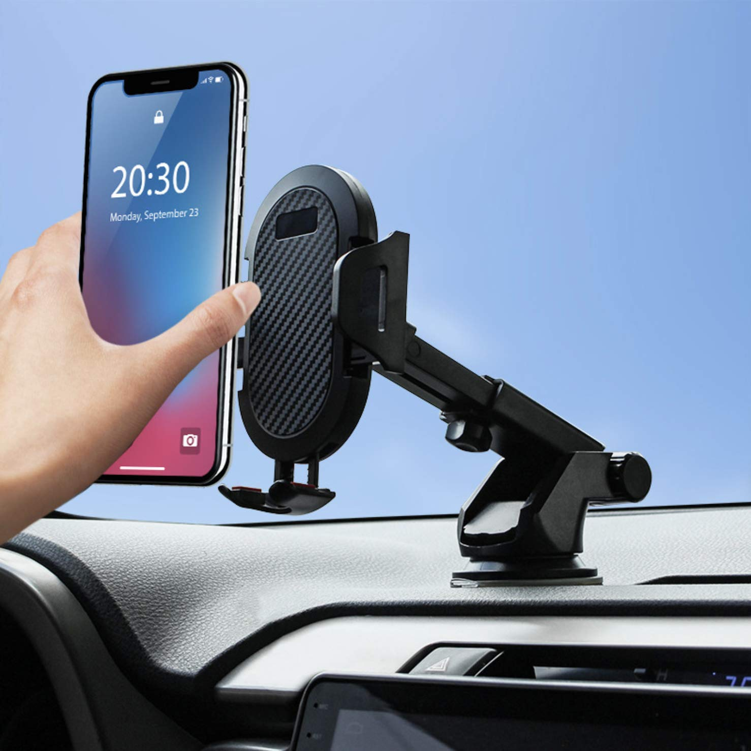 Automatic Car Phone Mount Black Shockproof Design Compatible iPhone 11 pro,11 pro max,X,XS,XR,8,7,6 Plus,Galaxy S7,8,9,10,Google Nexus 360/° Universal Dashboard Windshield Air Vent Car Phone Holder