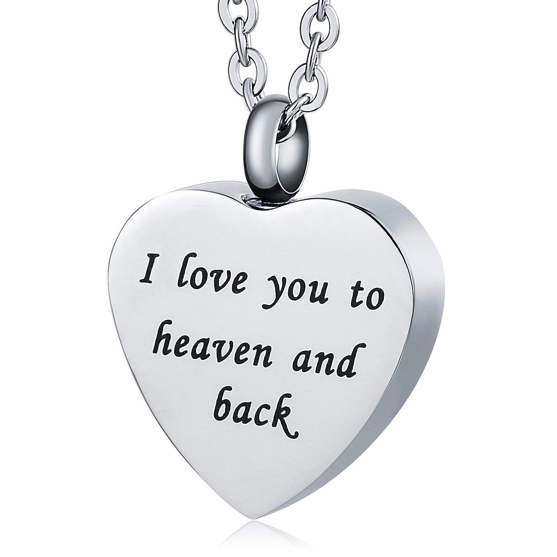 KnSam Urn Necklace for Men Women Stainless Steel Ash Memorial Pendant Heart-Shaped Alwalys in My Heart