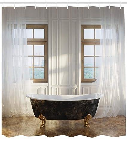 ABAKUHAUS Antique Shower Curtain Retro Bathtub In Modern Room Interior Hardwood Classics Space Design