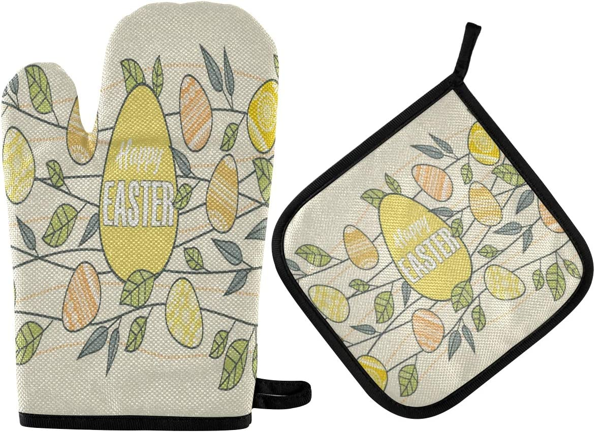N\ A Easter Eggs Decoration with Branches Leaves Oven Mitts and Potholder Set-Heat Resistant Oven Gloves to Protect Hands and Surfaces with Non-Slip Grip, Hanging Loop for Handling Hot Cookware Items