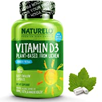 NATURELO Vitamin D - 2500 IU - Plant Based - from Lichen - Best Natural D3 Supplement...