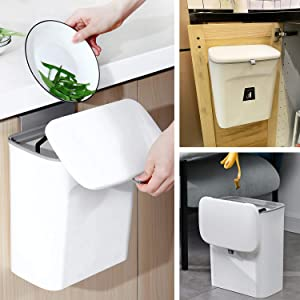 KaryHome Compost Bin Indoor Kitchen Sealedwith lid for Food Waste,Small Kitchen Trash Can with Lid,Hanging Trash Can for Kitchen Cabinet Door or Under Sink,White