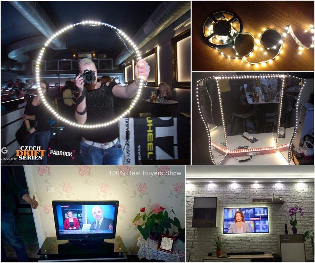 Tira Led para HDTV, retroiluminación TV, USB Powered Flexible retroiluminación, lámpara de rayos LED, Blanco cálido, 4m: Amazon.es: Iluminación