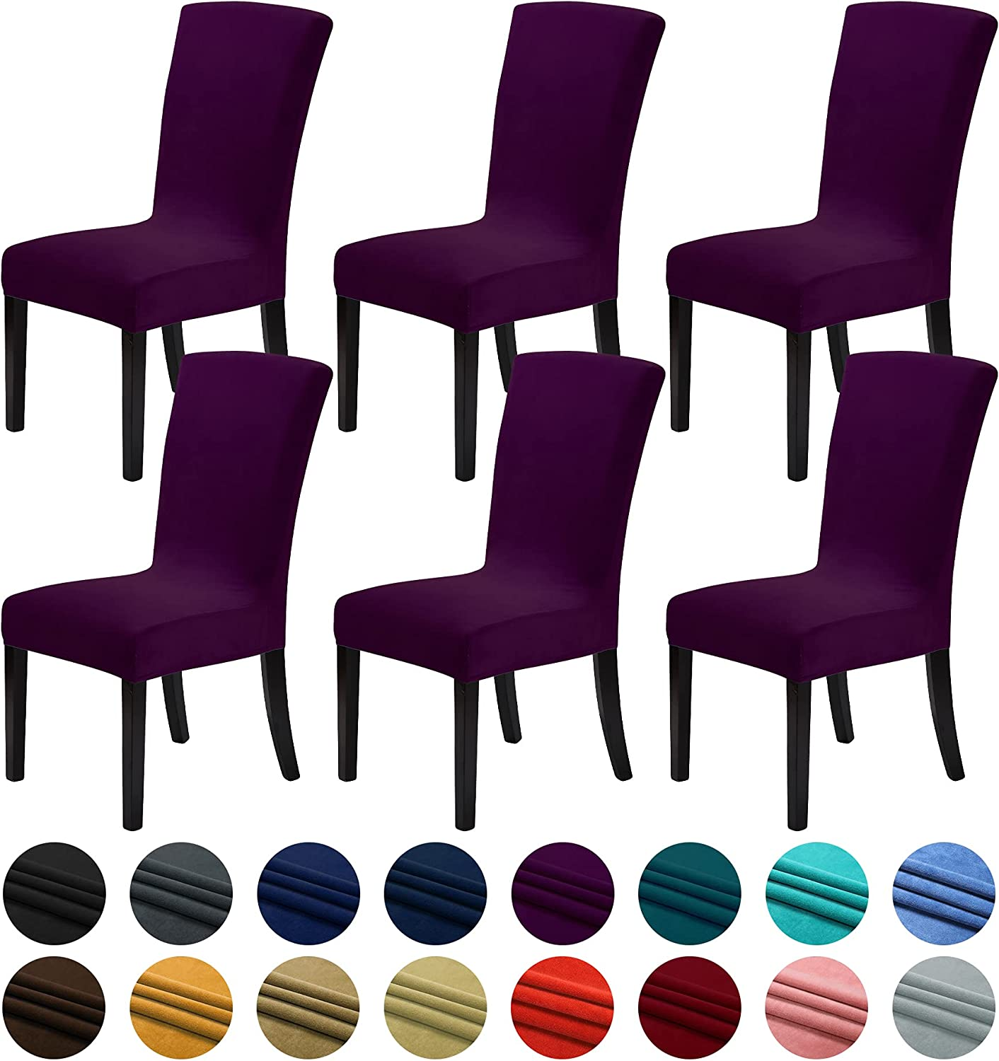 Howhic Velvet Chair Covers for Dining Room Set of 6, Stretchy Dining Chair Covers, Washable Kitchen Chair Slipcovers, Classy Decor for Home and Banquet (Eggplant, 6 Pack)