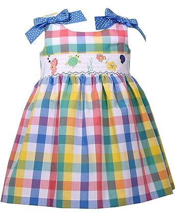 86ed8dde0441 Amazon.com  Bonnie Jean Girl s Smocked Sea Plaid Sundress  Clothing