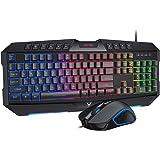 PICTEK Gaming Keyboard and Mouse Combo, Rainbow Backlit Keyboard with Ergonomic Wrist Rest, USB Wired Keyboard, Gaming Mouse with Programmable 6 Button for Windows PC Gamer Desktop, Computer - Black