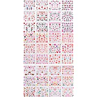 Solustre 3 Sheets Nail Art Sticker Nail Foil Transfer Sticker Paper Love Heart Flower DIY Nail Decoration